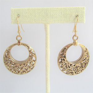 3 for $25 Openwork Circle Earrings Gold Wire Hooks